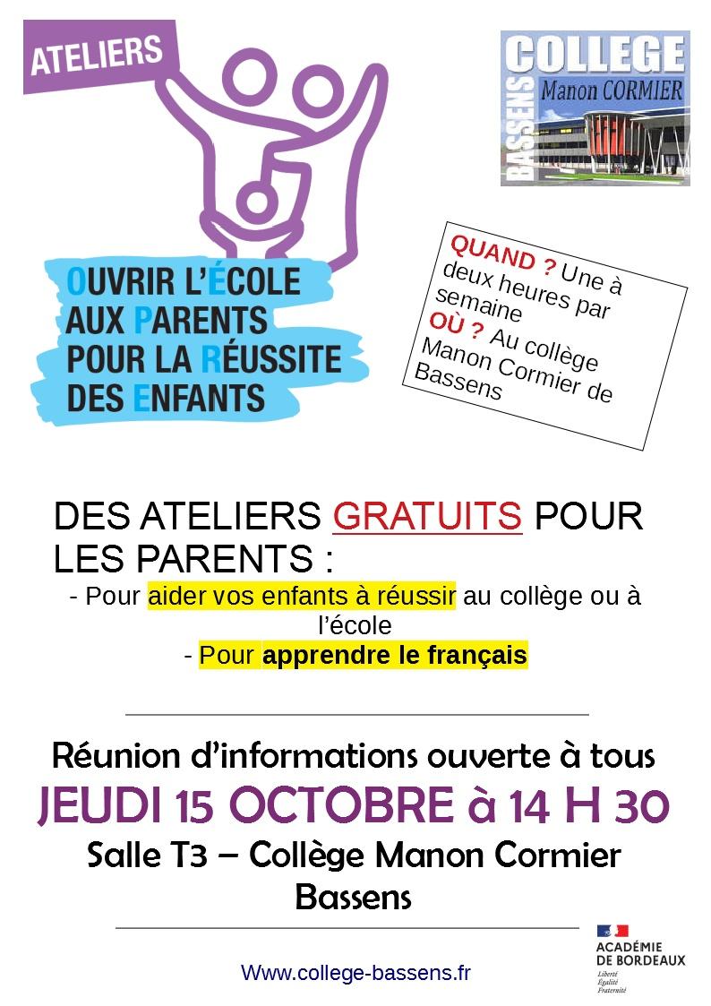 """Ateliers pour les parents """"allophones"""""""